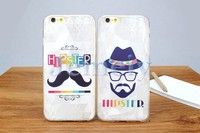Factory Price Custom Design Print Moustache Clear TPU Silicon Gel Case Back Cover For iPhone 5 5s, For iPhone 6 6 plus