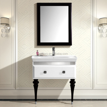 Modern white & black solid wood bathroom vanity furniture WTS854
