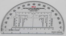 "KEARING BRAND,6"" MILITARY COORDINATE PROTRACTOR PLASTIC,MILITARY MAP GRID READER, #KMP-1"