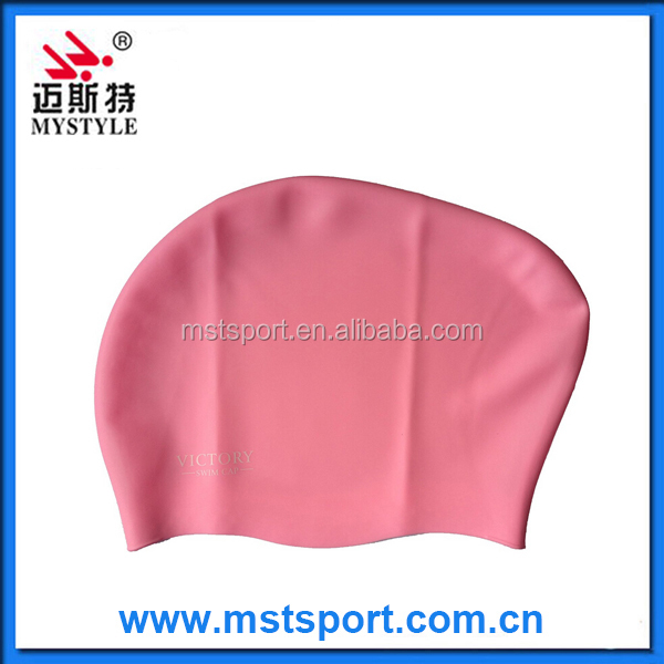 2015 fashion new silicone swimming cap with logo for long hair