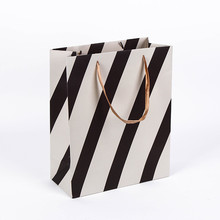 Simple style gift bag zebra line black and white striped gift handbag wholesale paper bag