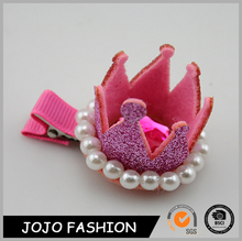 Hair clip cheap tall pageant pearl tiara crown for winter party