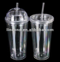 Double wall insulated plastic tumbler clear plastic cup with lid and straw