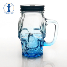 Wholesale China Factory 16oz 450ml Colored Skull Shaped Glass Mason Jar With Handle