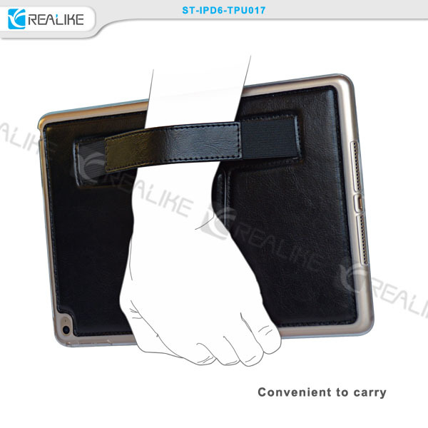 High quality products stand folio pu leather hand strap cases for ipad mini