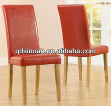 Shiny PU covered straight back dining chair/dining chair