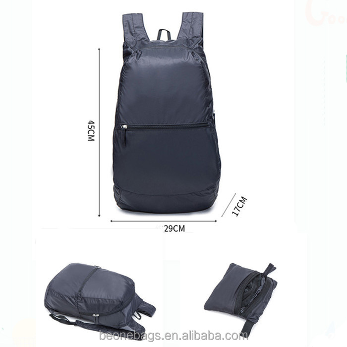 Waterproof nylon foldable backpack lightweight collapsible back pack bags