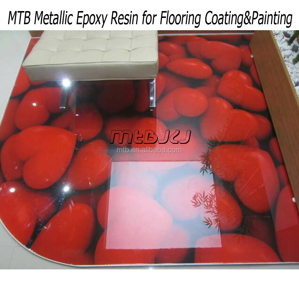 Clear epoxy resin coating for 3D flooring/floor art