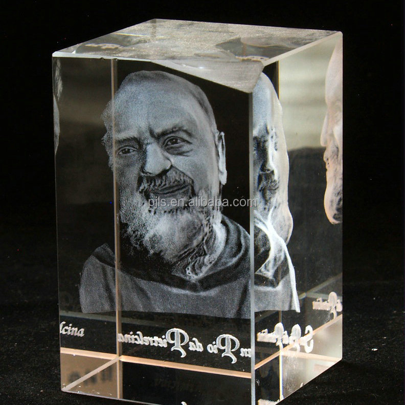3D Laser Engraving Blank Crystal Glass Block & Cube With photos Craft