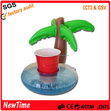 Custom pvc inflatable palm tree float cup holder cool new floating drink rafts.