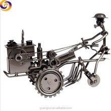 Home decoration metal craft farm walking hand tractor model