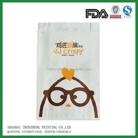 kraft paper pinch bottom greaseproof Fried Chicken packaging bag / customized kraft paper packaging bags for Fried Chicken