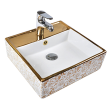 Chinese design hand painted plating electroplated bathroom art wash basin sink for bathroom