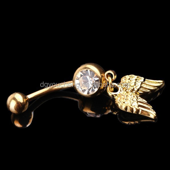 New Arrival Fashion Body Jewelry Stainless Steel Golden Wings Dangle Jewelled Navel Belly Ring