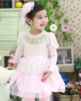 Girl Dress Free Shopping Kids Fancy Frocks Pink Dress Girl