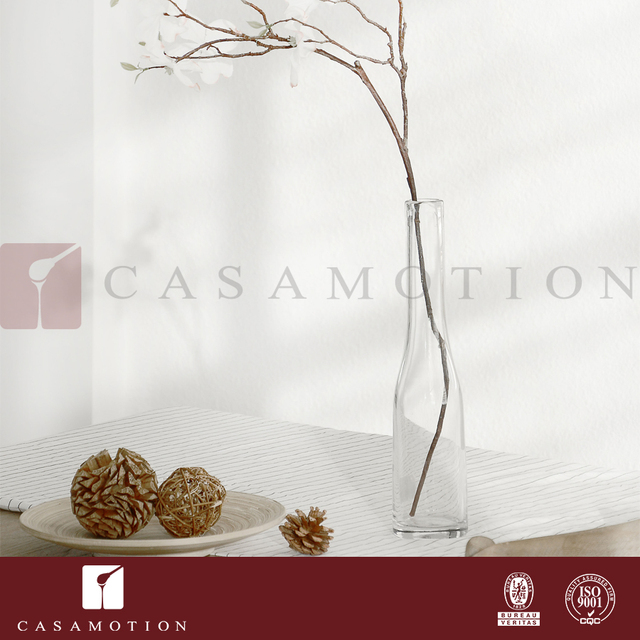 Wholesale CASAMOTION Crystal Clear 38.5CM Tall Wedding Glass Flower Vase with Long Slim Neck for Water Planting