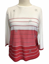 casual stripes lurex hot fix studs round neck 3/4 sleeve length woman sweater