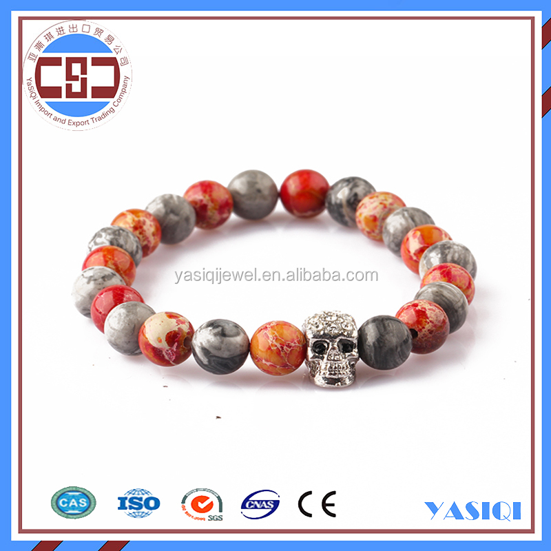Fashion wholesale elastic bracelet skull bracelet bead designs