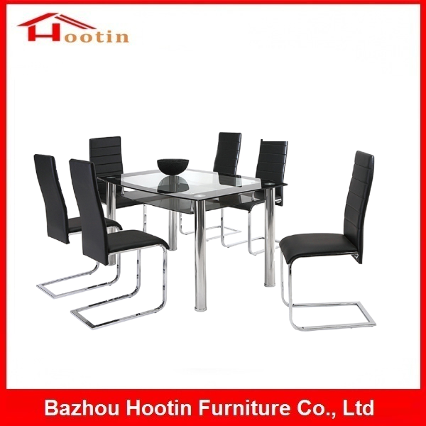 Modern Luxury Transparent Tempered Glass Metal Tube High Back PU Leather Soft Cushion Chair Table Set For Hotel Restaurant
