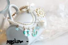 new design Ocean theme anchor shell charms pearl bracelet summer beach pearl bead bracelet with butterfly knot