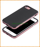 New coming 2 in 1 Shockproof carbon fiber TPU back cover PC frame mobile phone Case for iPhone 7 plus