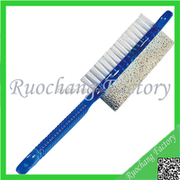 Hot selling plastic long handle nail brush with pumice stone