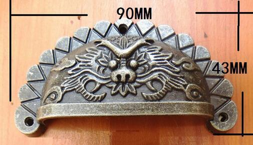 10pcslot dragon bin cabinet pull cup drawer handles vintage hardware antique bronze 90 antique hardware furniture pulls