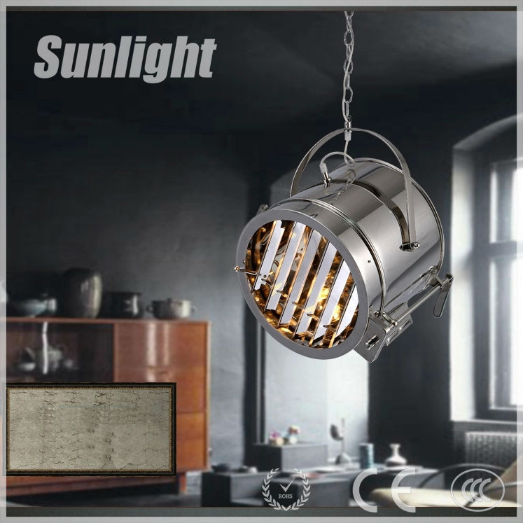 Modern industrial style silver bucket shape indoor restaurant decorative Iron round metal pendant lamp/light for coffee shop