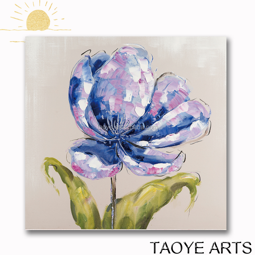 Purple color hand paint pictures for fabric painting flower