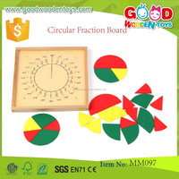 Wooden Montessori Preschool Educational Game Toy Circular Fraction Board