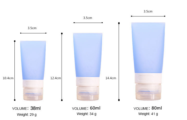 Travel Silicone Squeezable Refillable Bottles for Shampoo Shower Gel Lotion