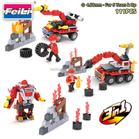 COGO fire fighter blocks 3 in 1 with 111pcs plastic building blocks for kids