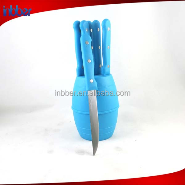 (NK116)cheap price 6pcs plastic handle serrated stainless steak knife