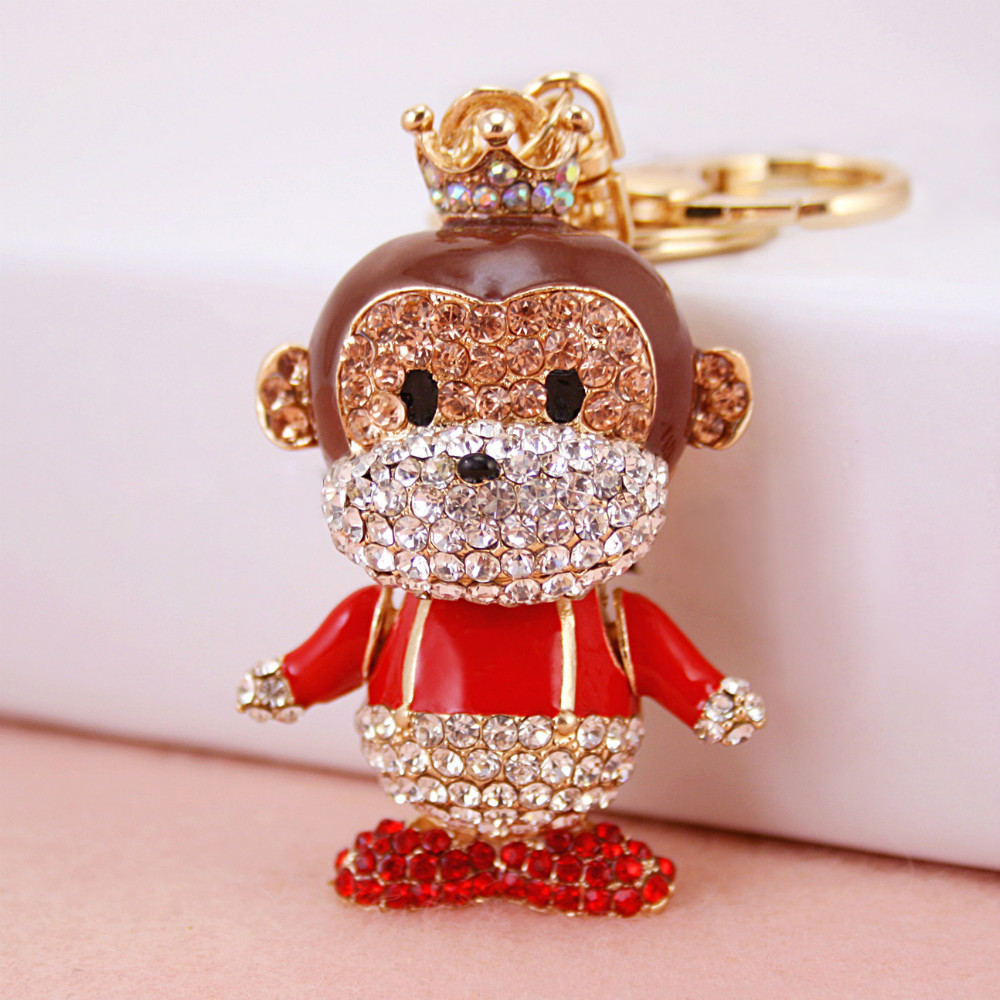 Shine glitter gold plating rhinestone monkey crystal animal keychain,cute cartoon ape anime bag charms key chain ring keyring