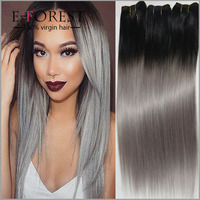 Factory Price Silver Grey Ombre Human Hair Extensions 3 Pcs 1B Grey Straight Hair Two Tone Brazilian Virgin Hair Grey Weave