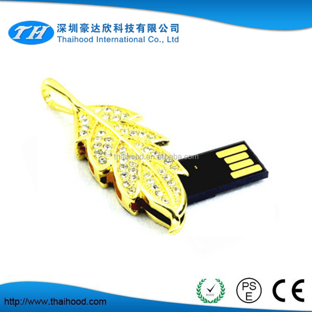 new product Leaf shape swivel usb flash drive,best jewelry usb gift for promotion