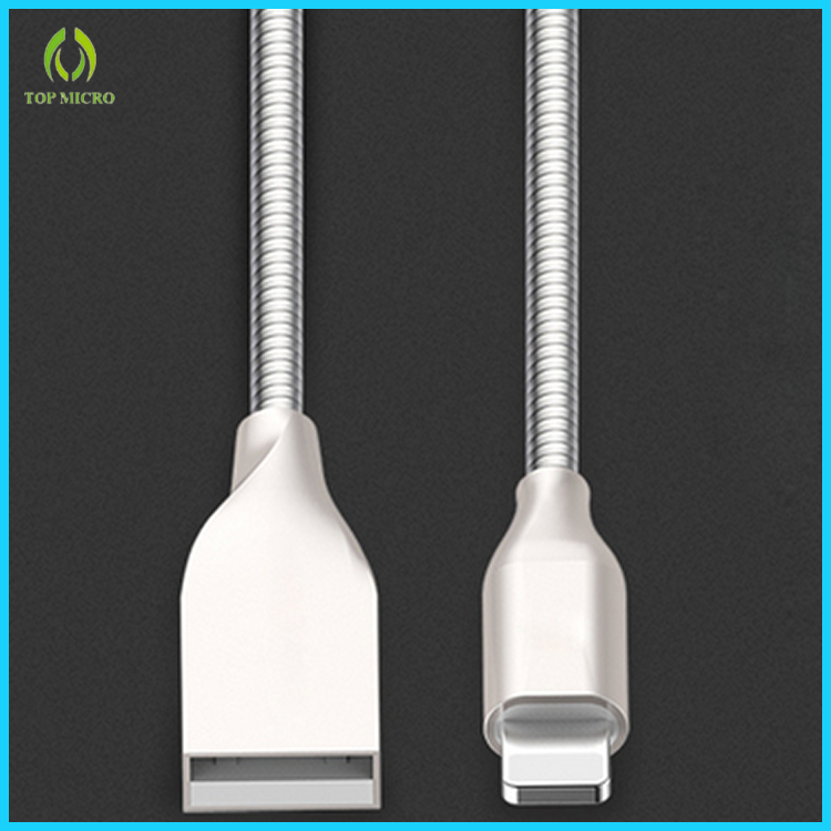Hot Selling OEM Quick Charge Smart Metal Data line for iPhone/Android USB Cable