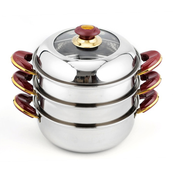 24cm-32cm Kitchenware Wholesale Steamer Stainless steel Stockpot Set Cheap Soup Pot Seafood Bun Steamer