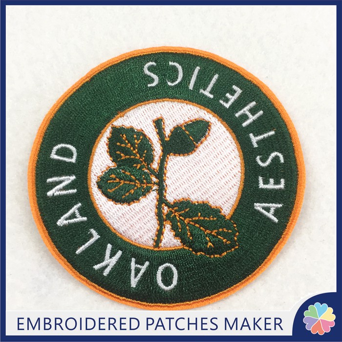 Custom Leaf Patches Product Type and Embroidered Technics Iron on patches
