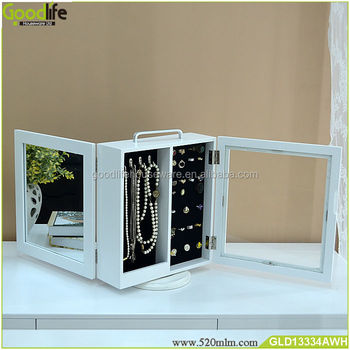 Bedroom furniture tabletop jewelry display cabinet rotating mirror jewelry cabinet
