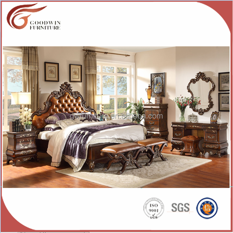 WA151 French Luxury Style Bedroom Set/European Wooden Carving Kind Size Bed