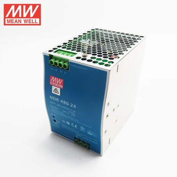 Original MEANWELL 75w to 480watt slim and economical NDR series din rail power supply 24VDC 20a with ul ce NDR-480-24