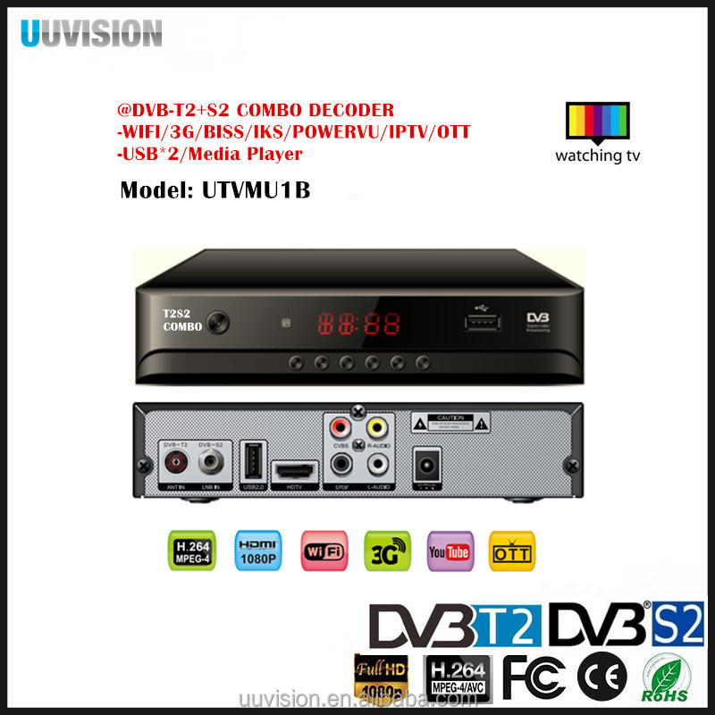 2017 UUvision HD DVB S2+T2 COMBO_220 Receiver Combo Decoder Support powerVU TV3 biss 3Gwifi CA IKS CCCAM IKS Youtube