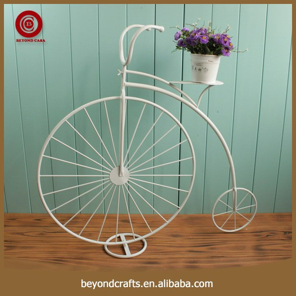 Handmade decorative bicycle wrought iron stand for flowers