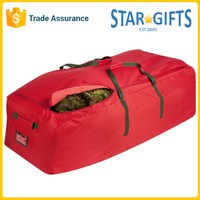 Wholesale Red Canvas Rolling Large Christmas Tree Storage Bag With PVC ID Window
