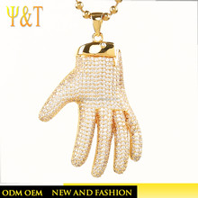 Hot sale hip hop bling hand shape pendant 18K gold jewelry