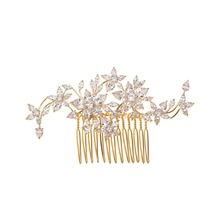 Rosegold Cubic Zirconia Flower Women Bridal Hair Comb