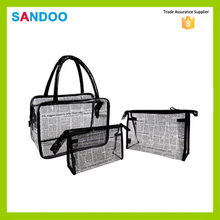 2016 alibaba china wholesale fashionable printing letters lady transparent cosmetic pvc bag,Three piece suit make up bag