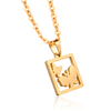 24 Karat Gold Butterfly Tag Pendant Necklace Chains Jewelry Making Charms Pendant