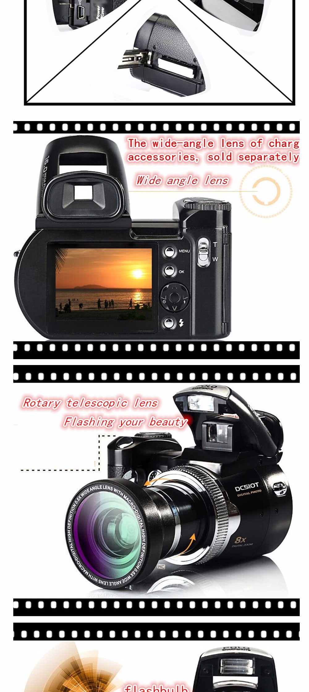 12MP dslr camera with 2.4'' TFT display